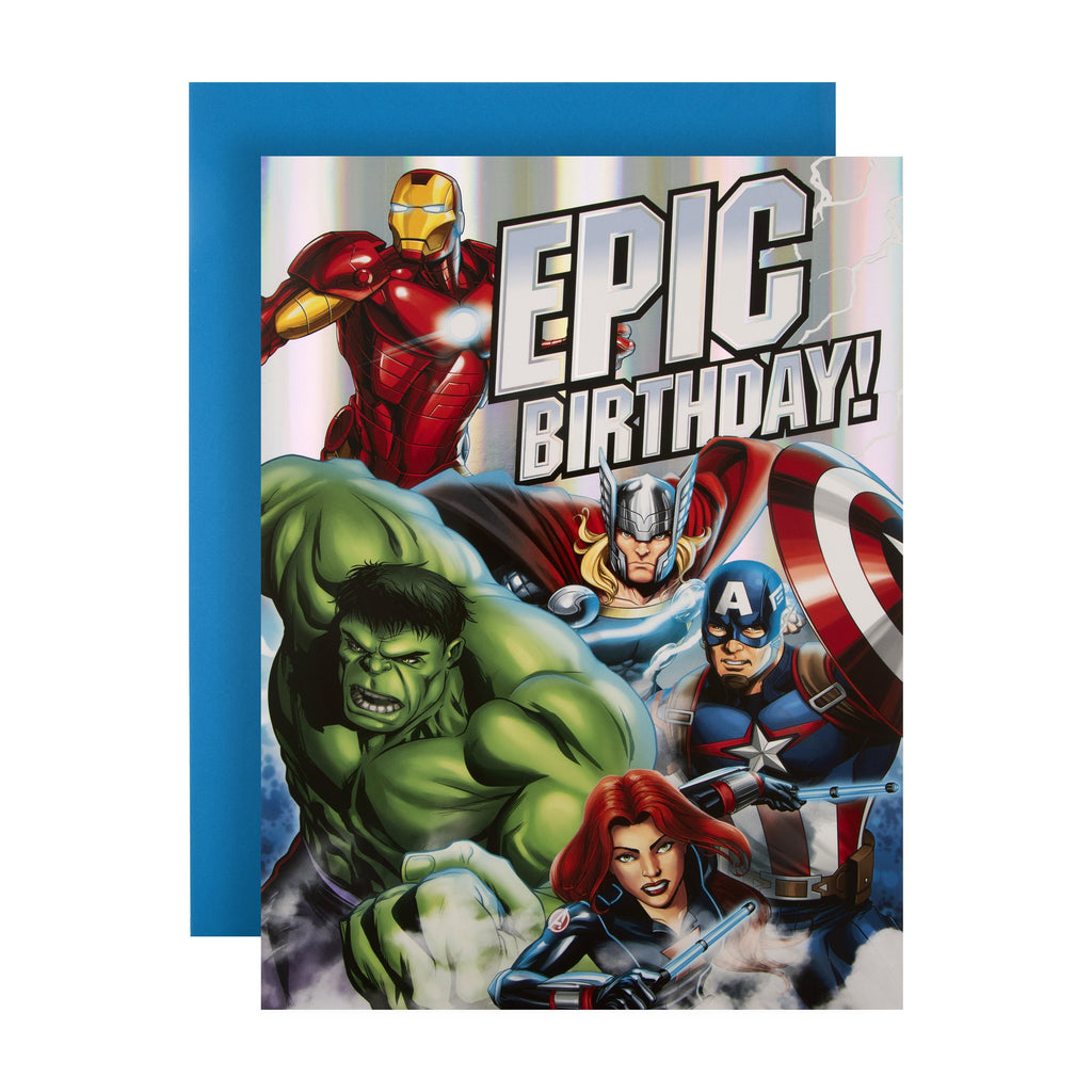 Extra-Large Kids' Birthday Card from Hallmark - Marvel Avengers Design