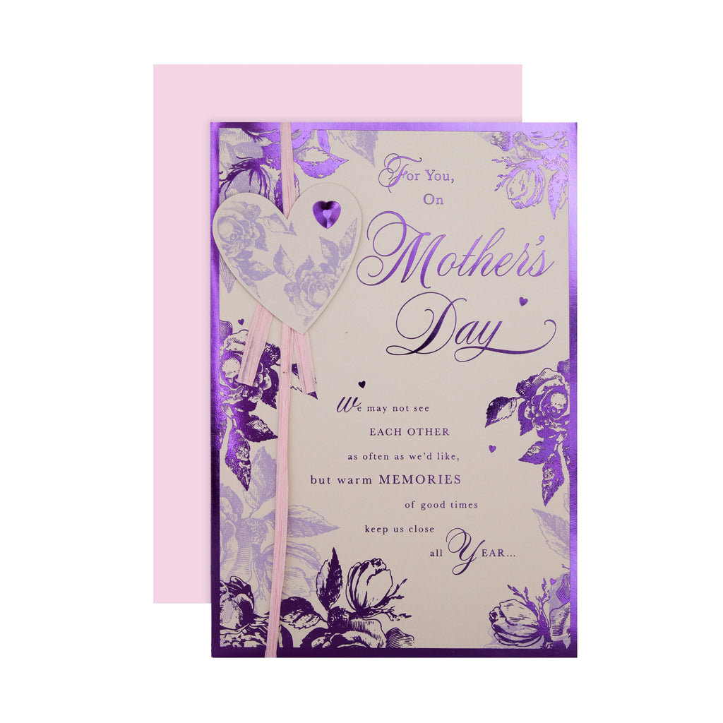 100% Recyclable Mother's Day Card - Purple Foiled Floral Design