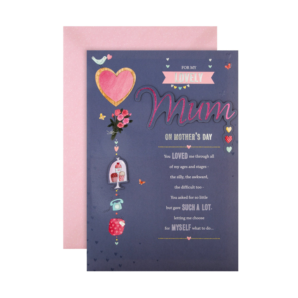 100% Recyclable Mother's Day Card for Mum - Contemporary Design with Heartfelt Verse