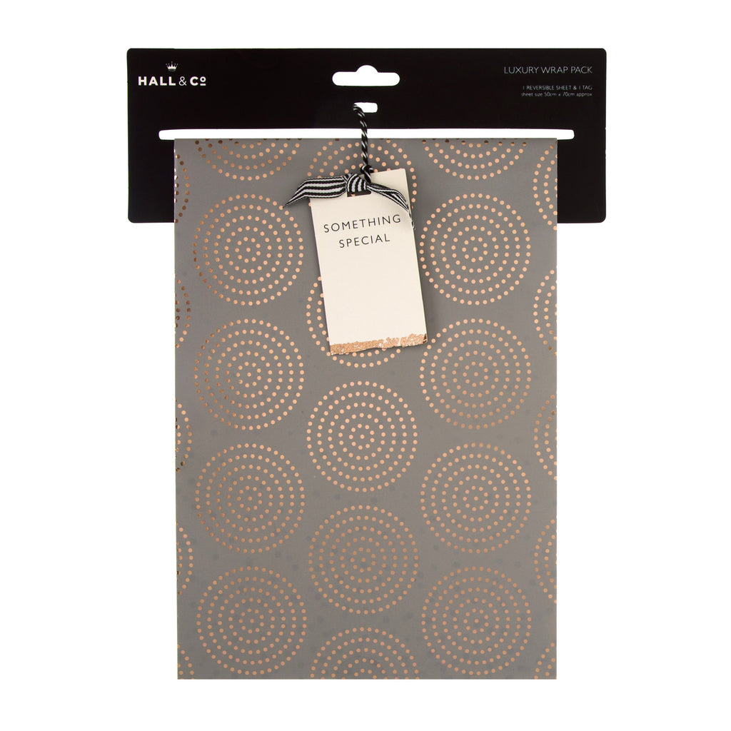 Multi-Occasion Hall & Co Luxury Wrapping Paper and Gift Tag Pack - Rose Gold Foil Dots Design