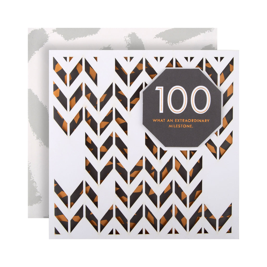 100th Birthday Card from Hallmark - Laser-cut 3D Effect Design
