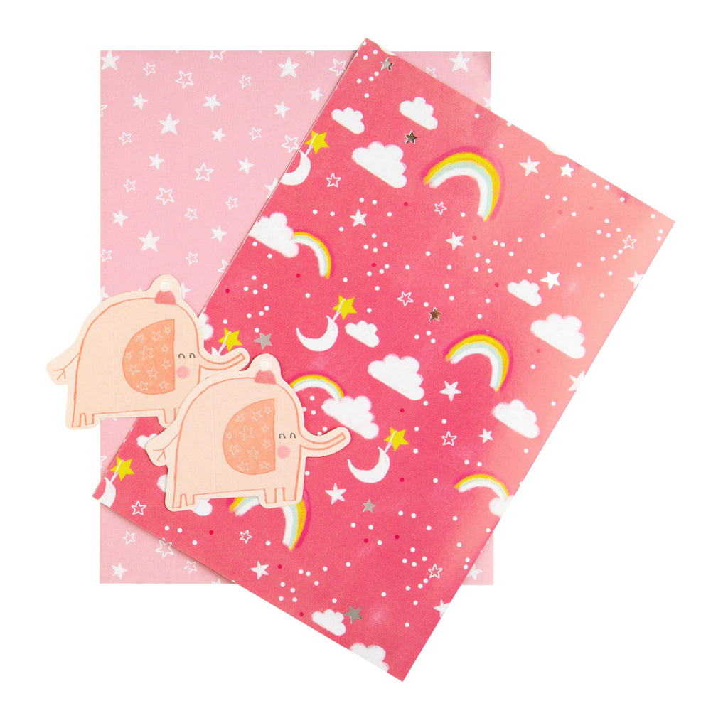 Baby Wrapping Paper and Gift Tag Duo Pack - Rainbows and Stars Design (Pink)