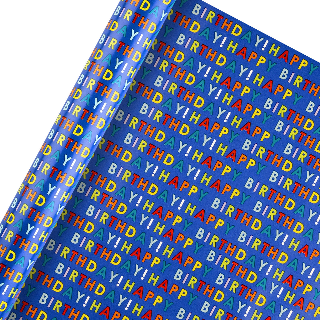 2m Roll of Birthday Wrapping Paper from Hallmark - Text Based Design
