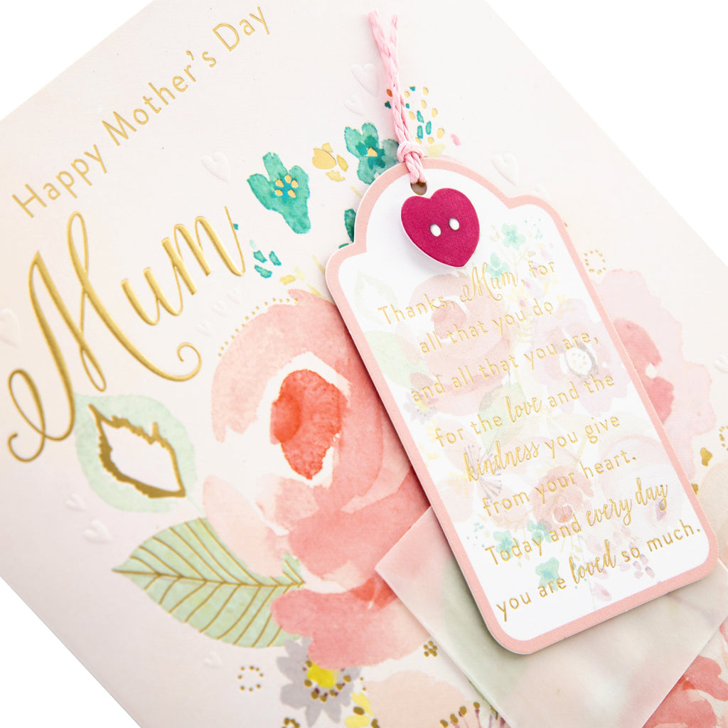 100% Recyclable Mother's Day Card for Mum - Classic Floral Design with Removable Keepsake Card