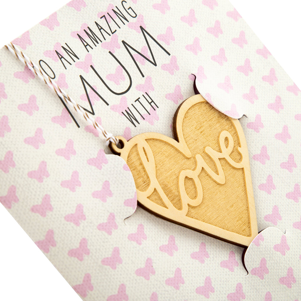 Mother's Day Card for Mum - Simple Contemporary Design with Detachable Keepsake Decoration