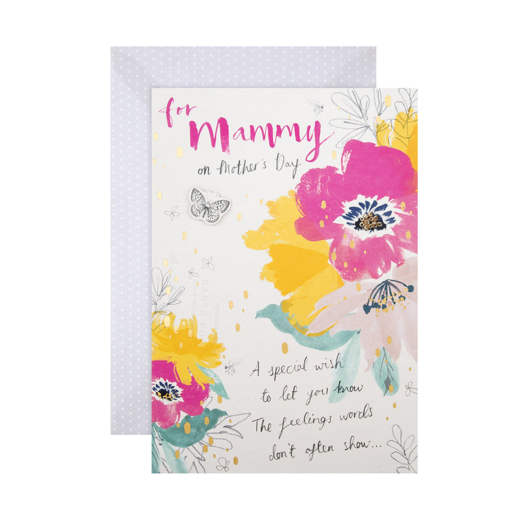 100% Recyclable Mother's Day Card for Mammy -  Watercolour Floral Design