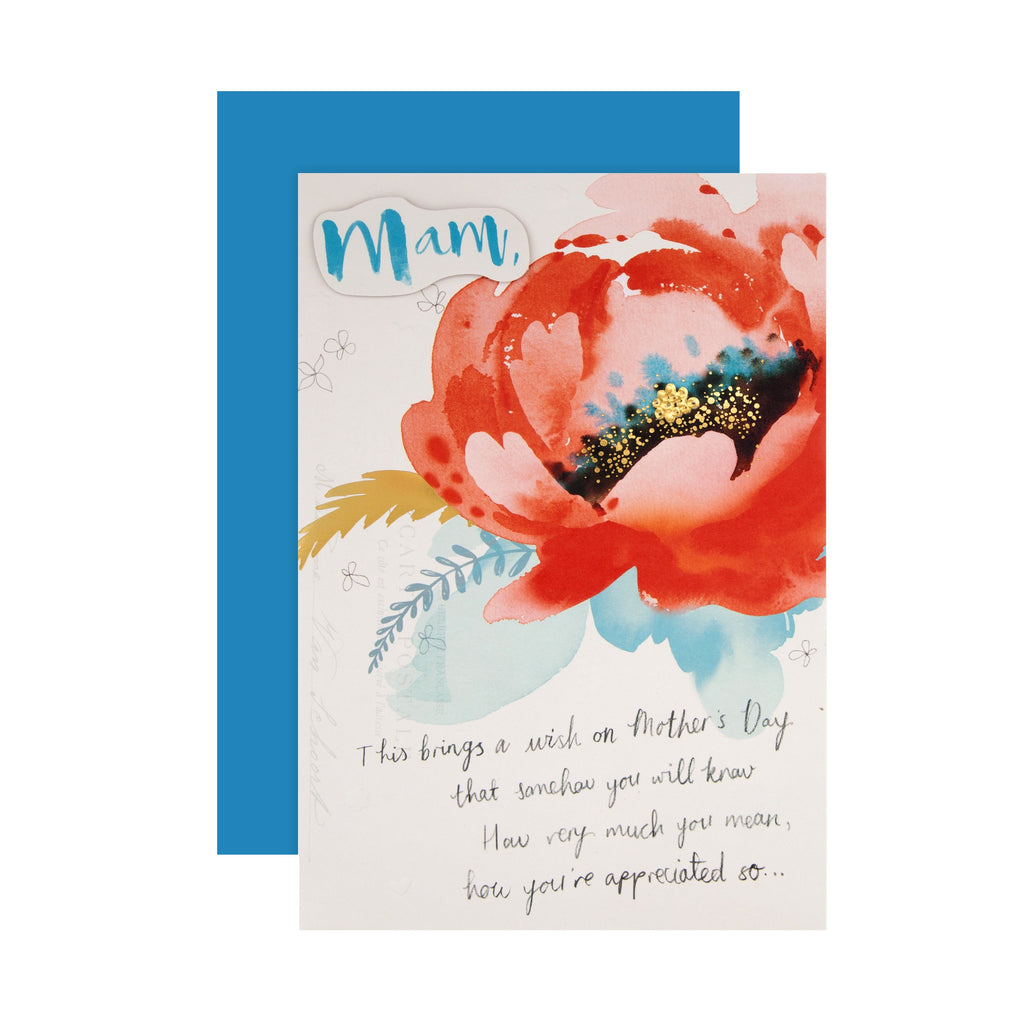 100% Recyclable Mother's Day Card for Mam - Classic Watercolour Floral Design