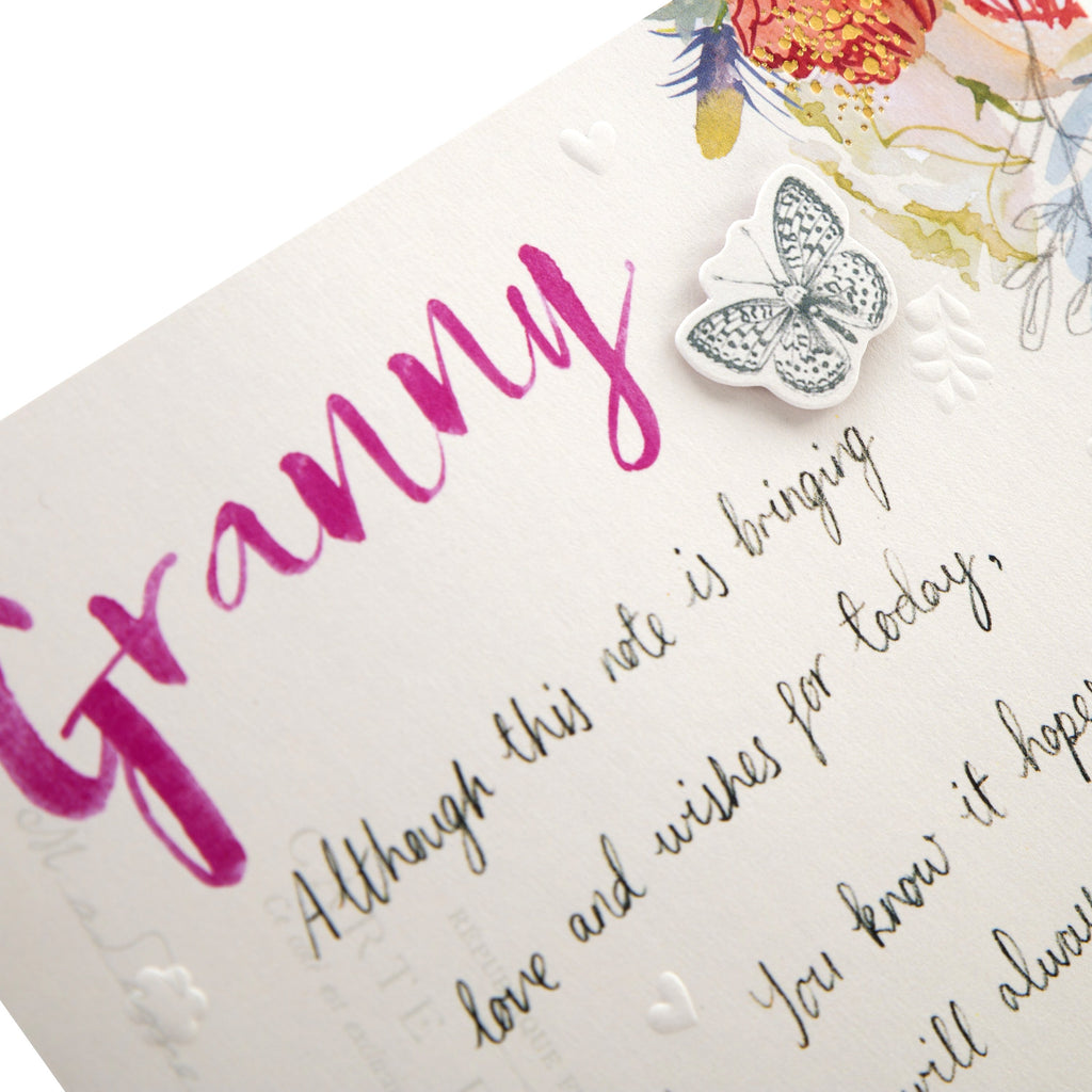 100% Recyclable Mother's Day Card for Granny - Classic Floral Design