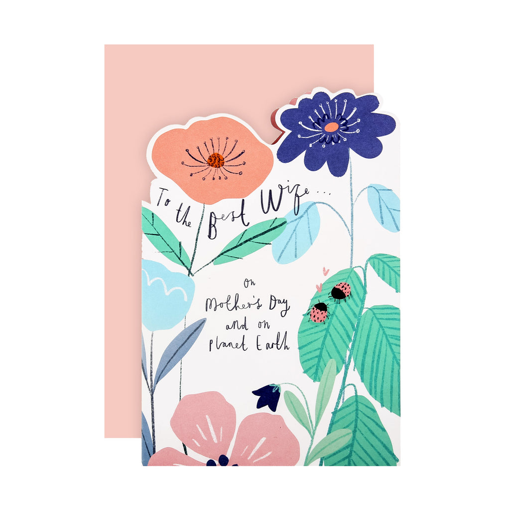 100% Recyclable Mother's Day Card for Wife - Die-cut Floral Design