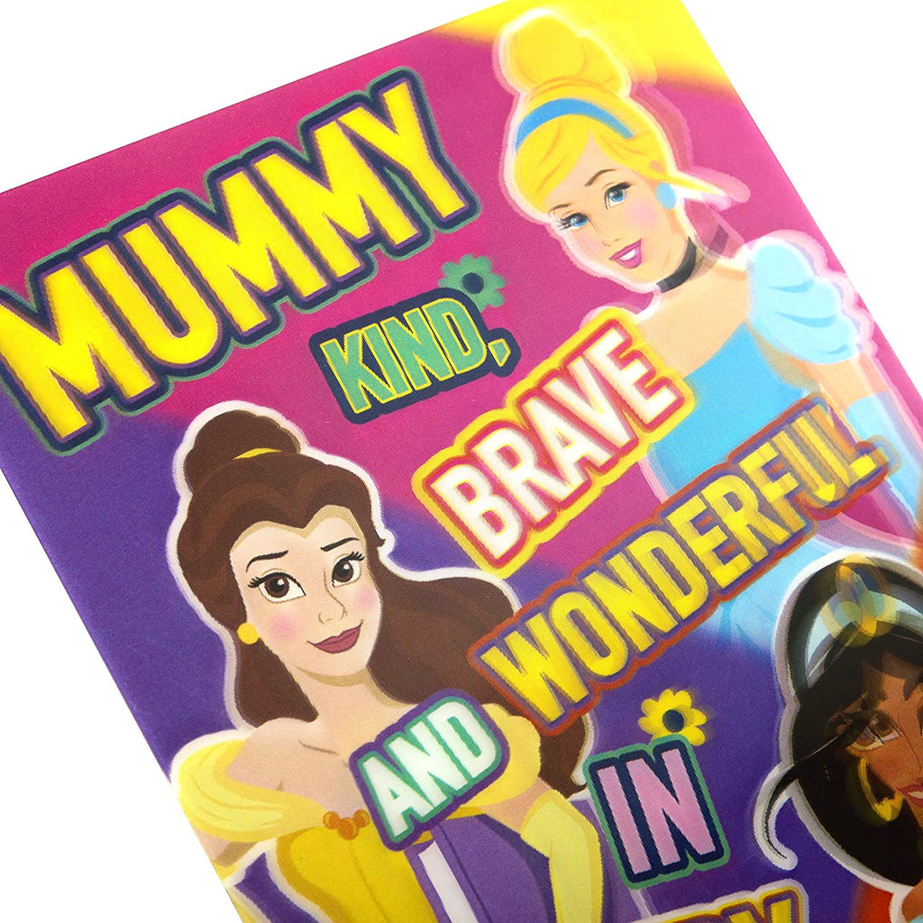 Mother's Day Card for Mummy - Fun Disney Princess Design with Removable Keepsake