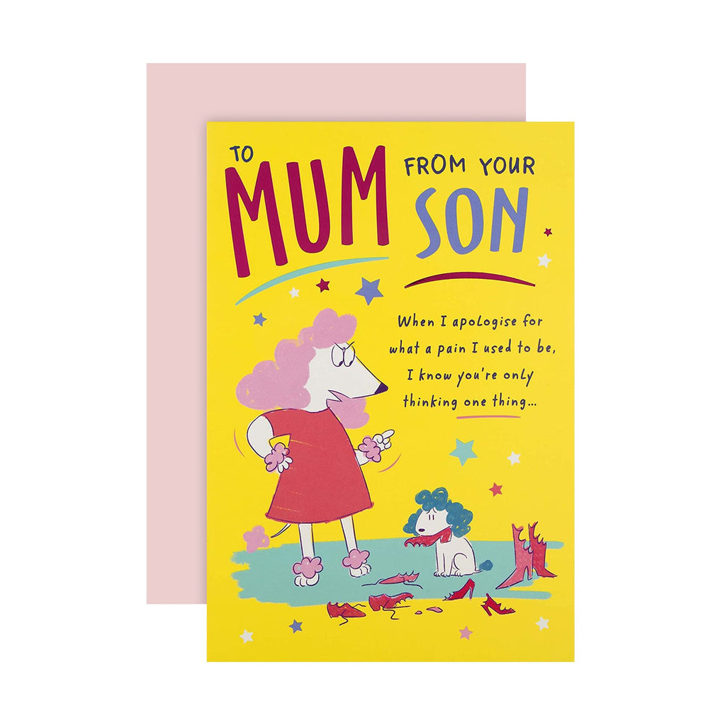 100% Recyclable Mother's Day Card for Mum from Son - Funny Cartoon Style Design
