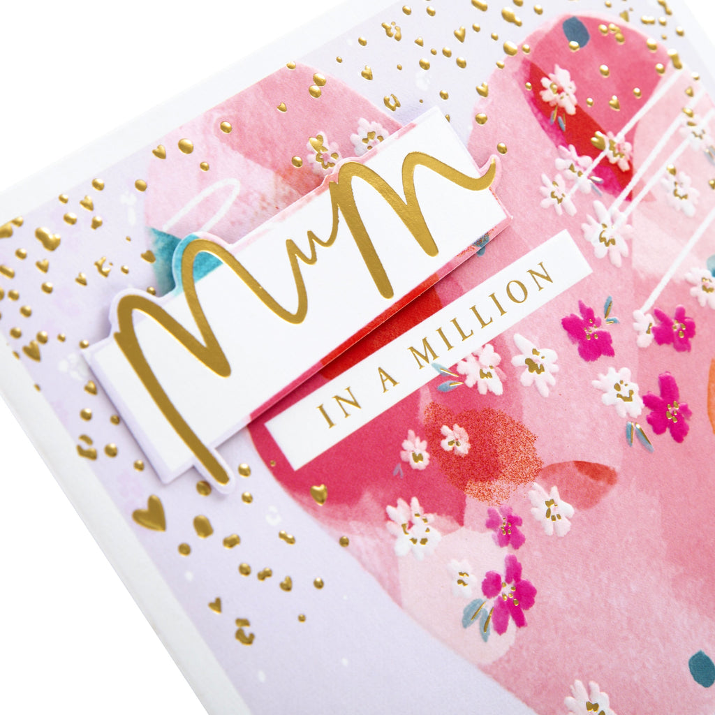 Mother's Day Card for Mum - Contemporary Floral Heart Design