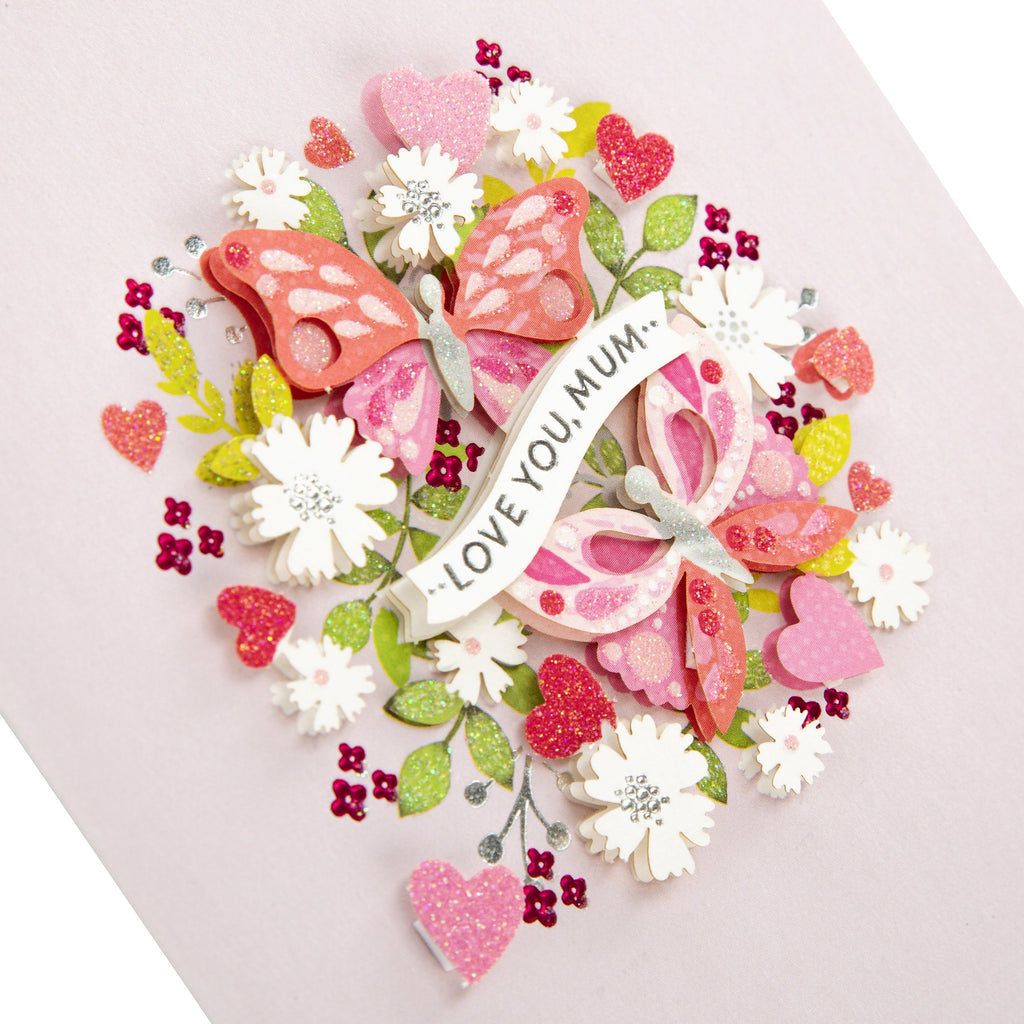 Mother's Day Card for Mum - With 3D Effect Floral, Signature Collection Design