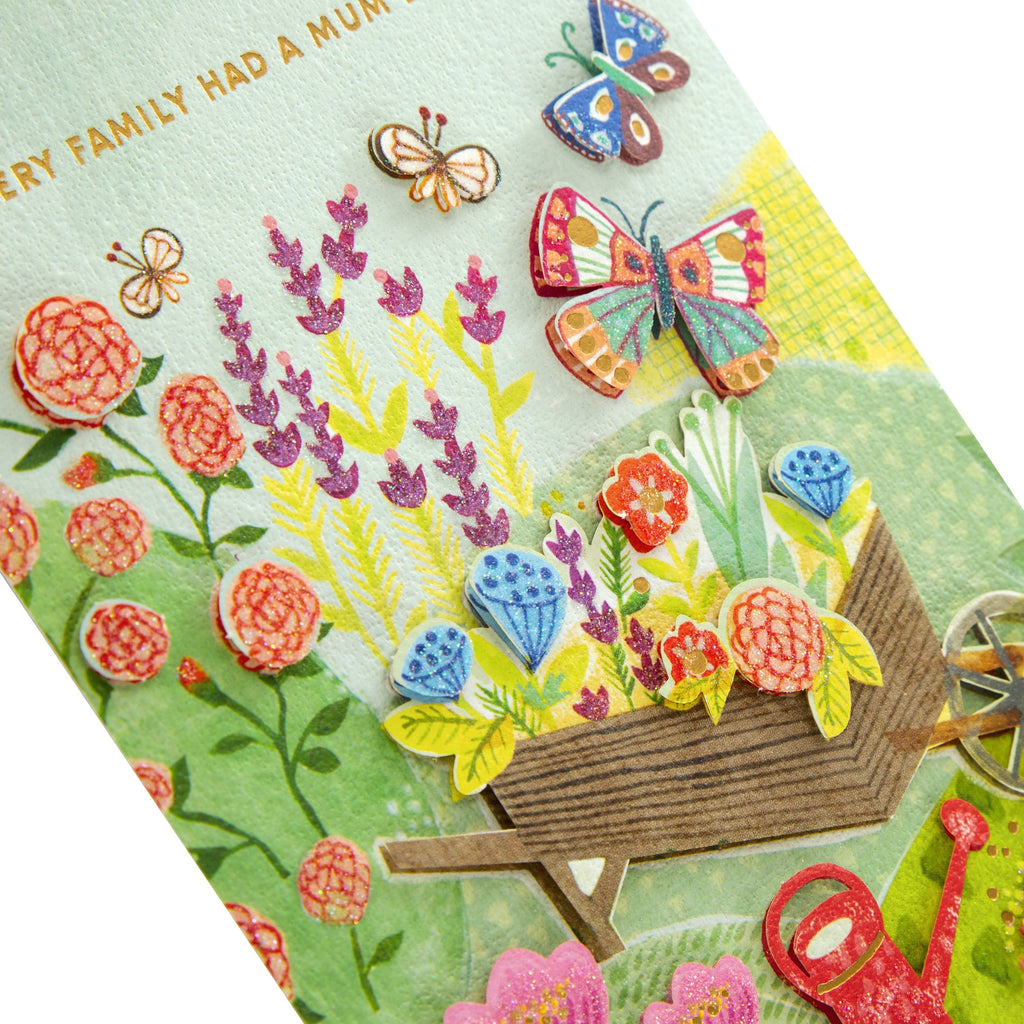 Mother's Day Card for Mum - With 3D Effect Garden Themed, Signature Collection Design