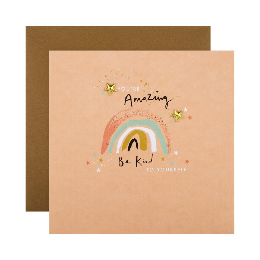 Any Occasion Card - Cute Uplifting Illustrated Design with Recyclable Charms