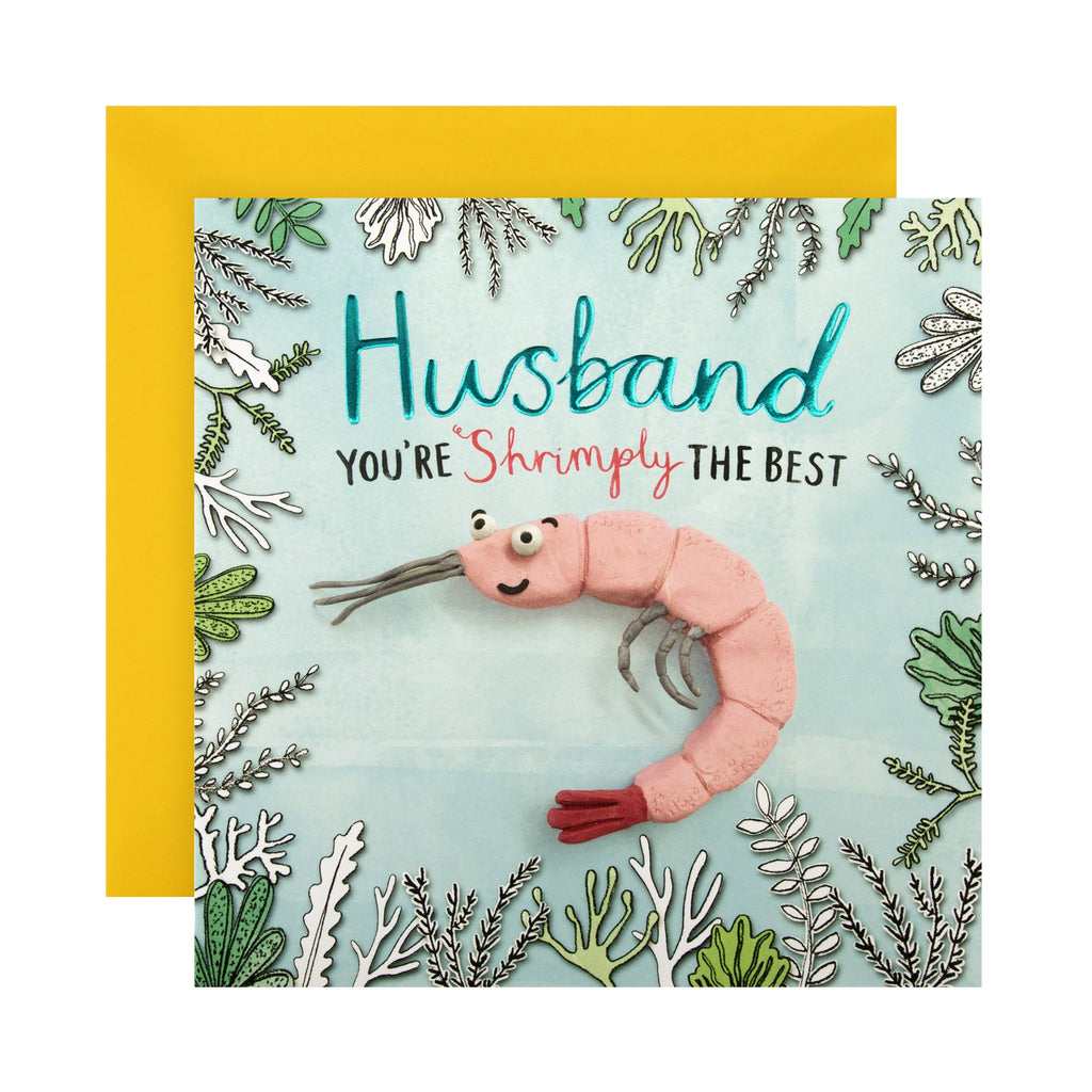 Birthday Card for Husband - Funny Embossed Design