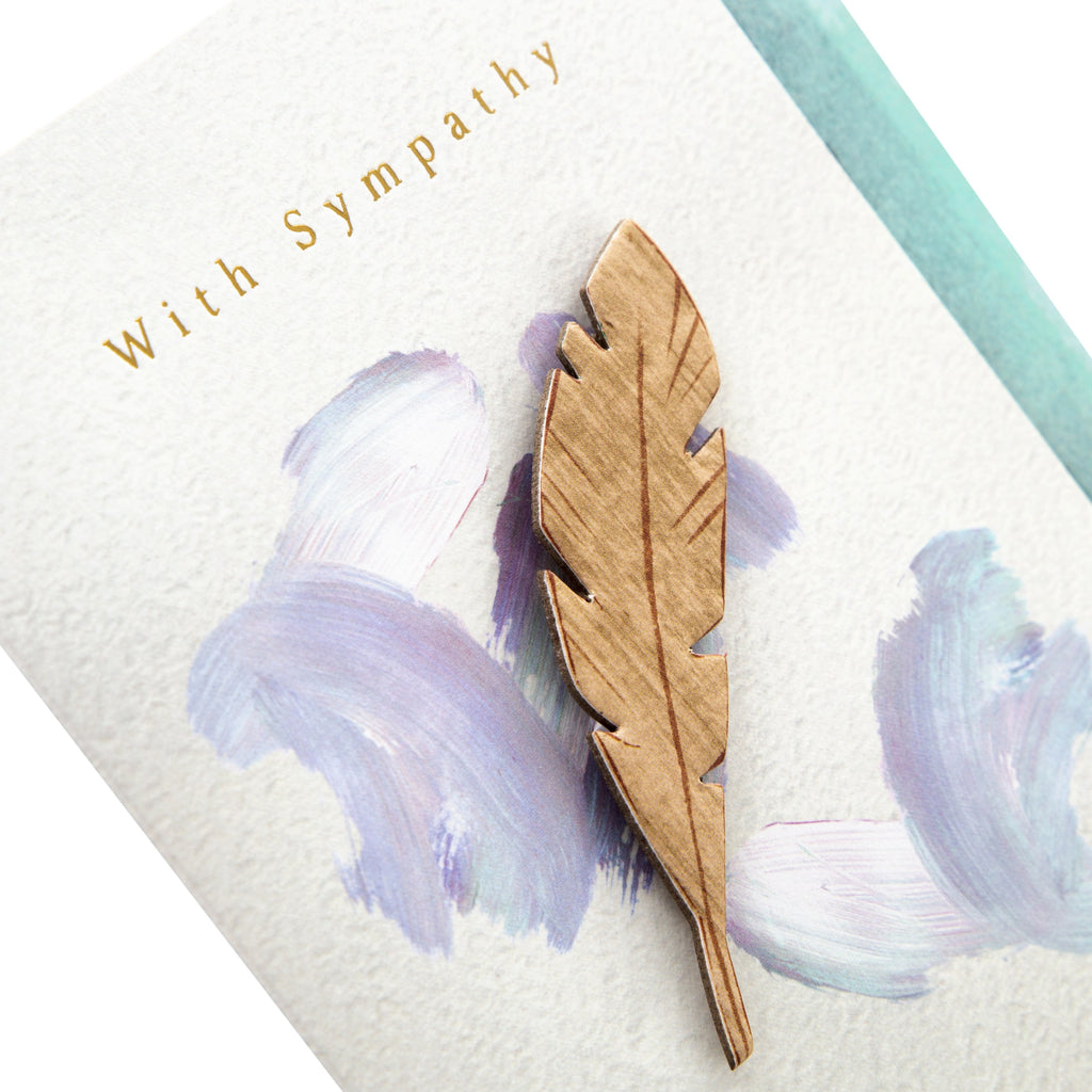 Sympathy Card - Contemporary Design with Wooden Feather Attachment