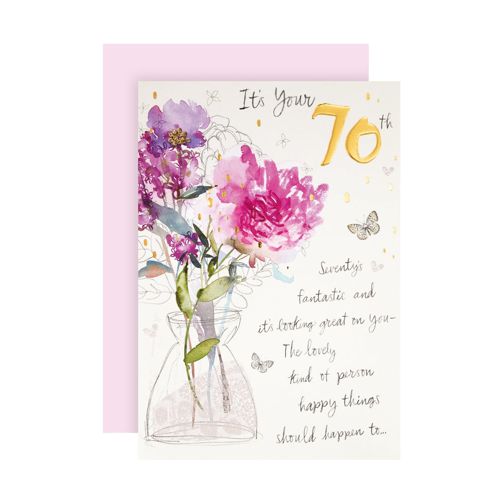 70th Birthday Card - Classic Embossed Floral Design