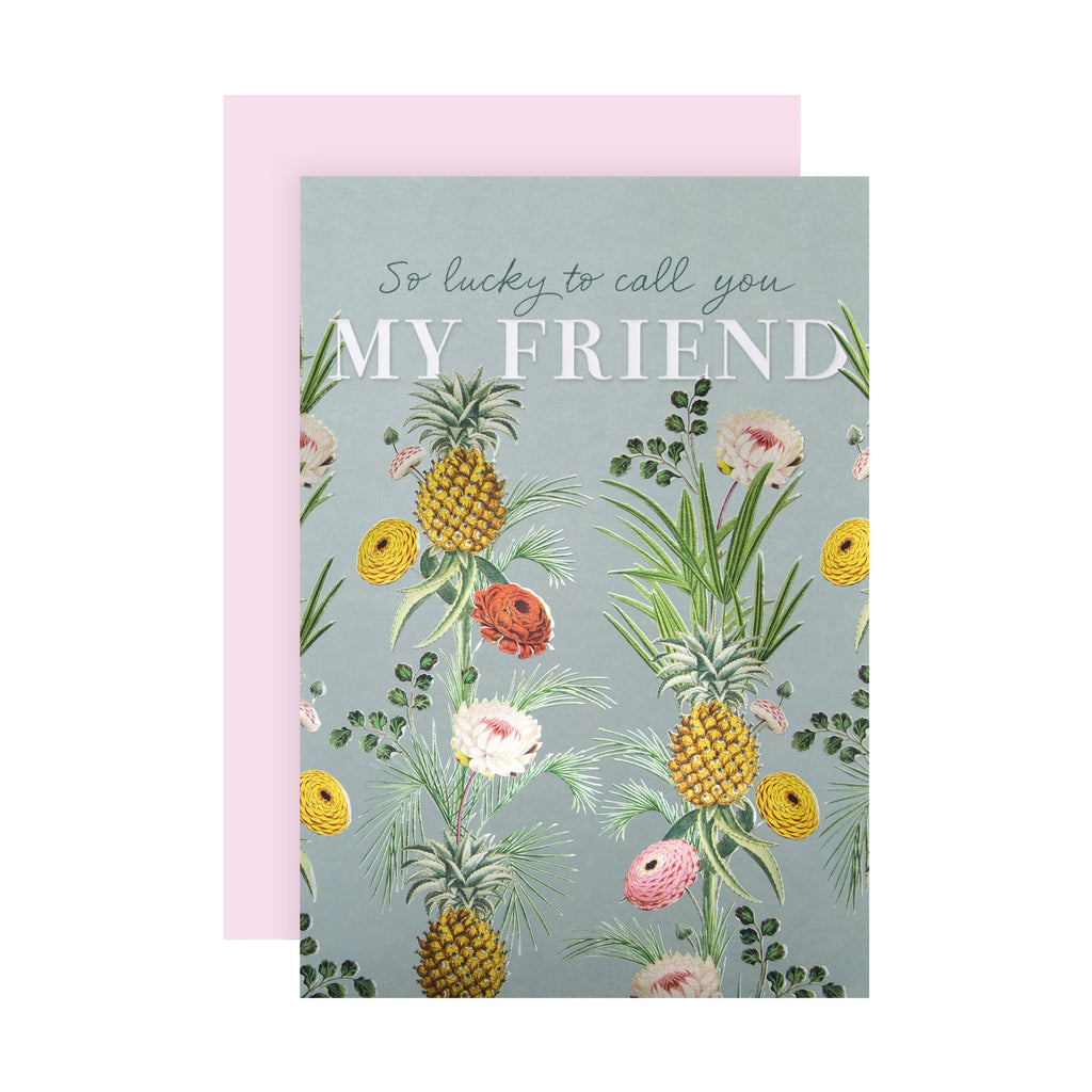 Birthday Card for Friend - Vintage Style Botanical Design