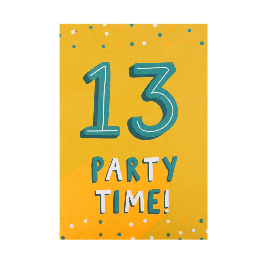 13th Birthday Card - Contemporary Neon, Text Based Design