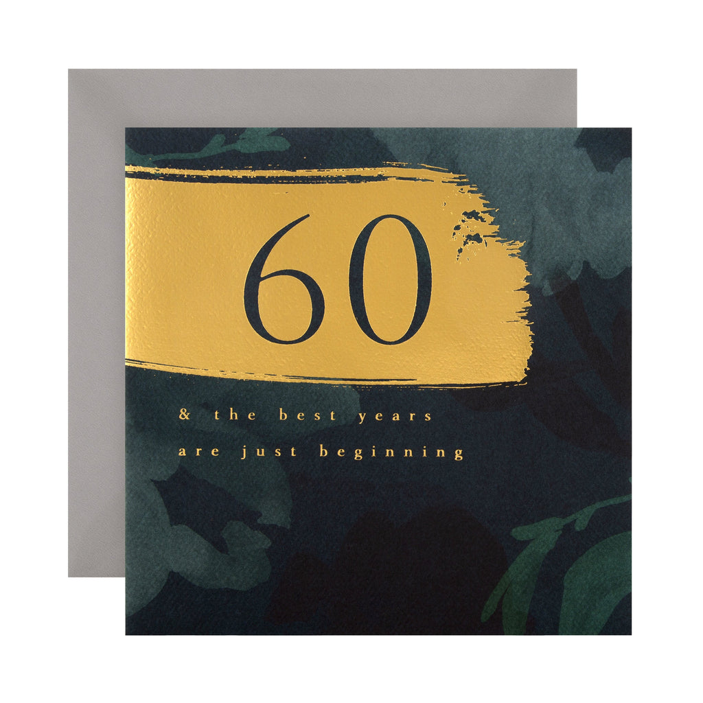 60th Birthday Card - Classic Text Based Design