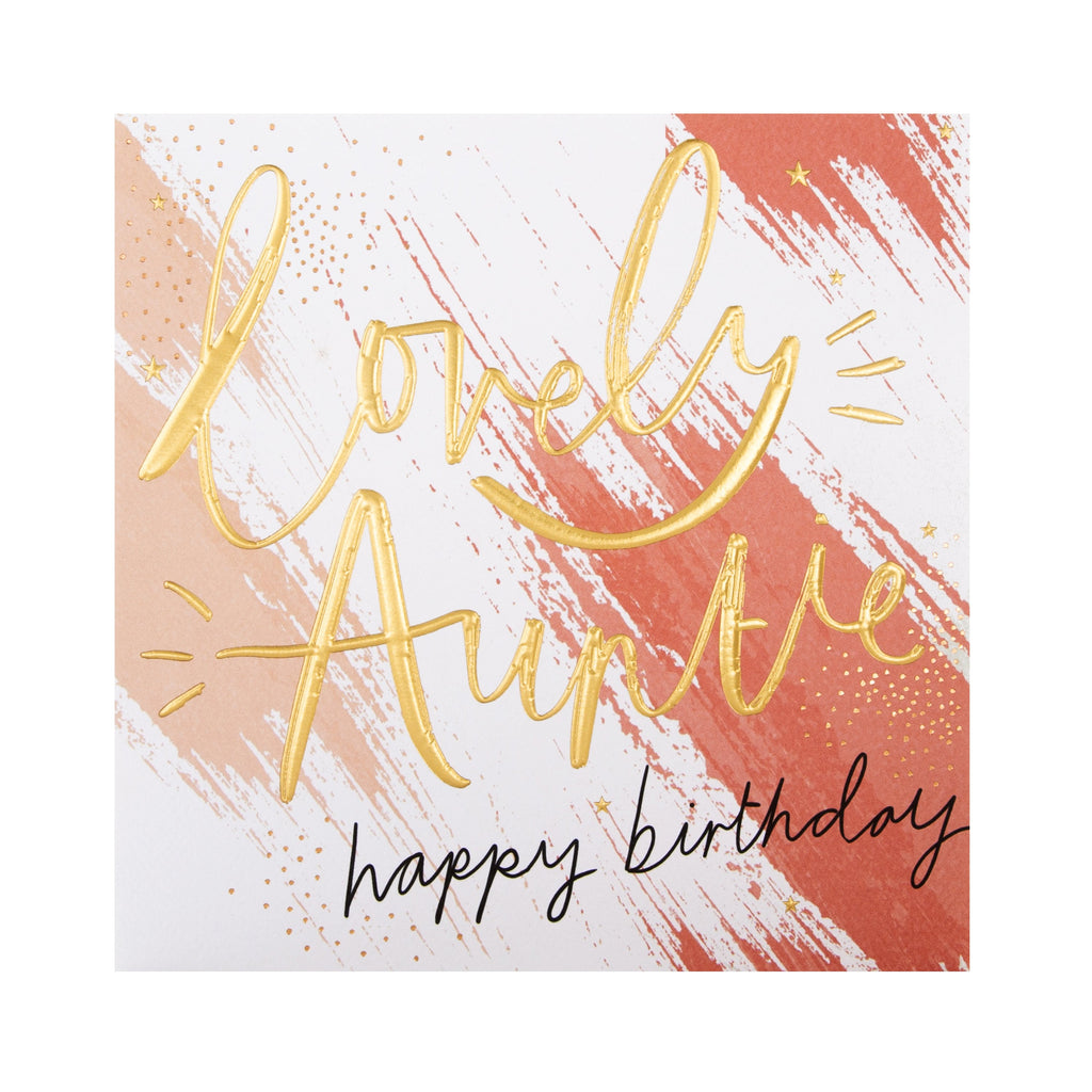 Birthday Card for Auntie - Contemporary Embossed Text Design
