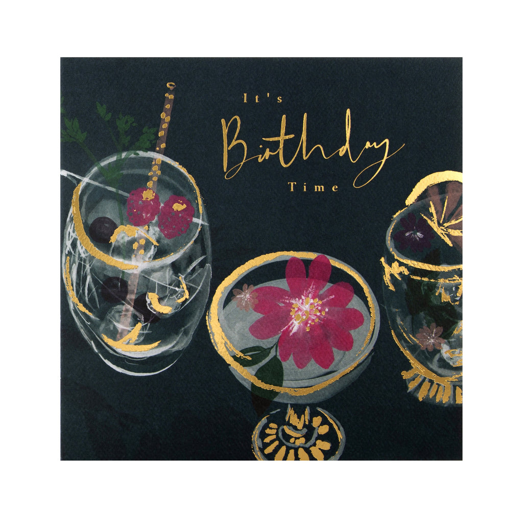 General Birthday Card -  Elegant Cocktail Themed Design