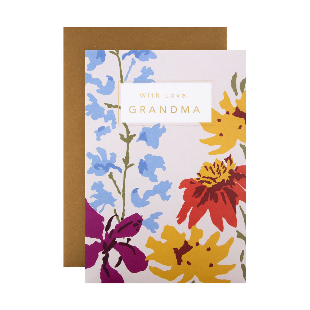 Birthday Card for Grandma - Contemporary Floral Design