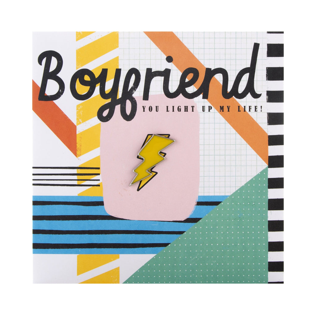 Birthday Card for Boyfriend - Contemporary Graphic Design with Pin Badge