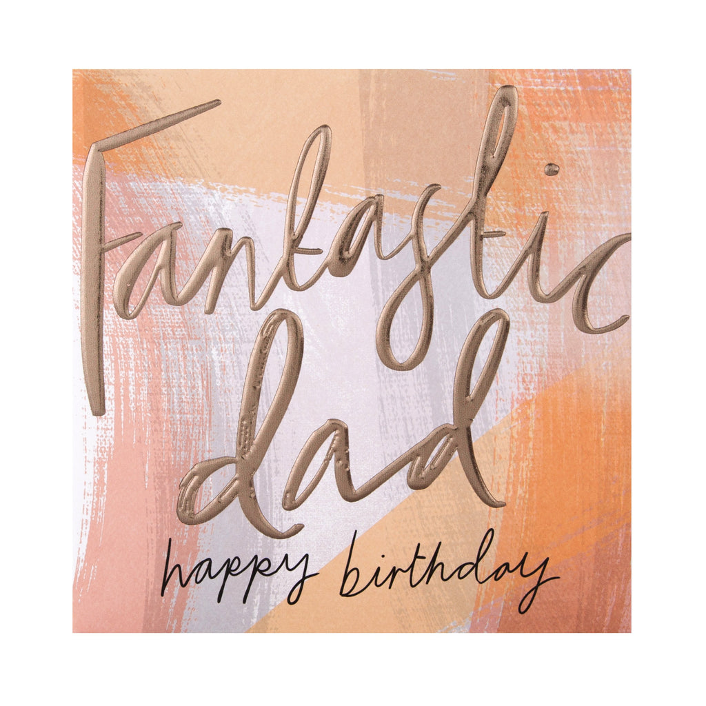 Birthday Card for Dad - Contemporary Embossed Text Design