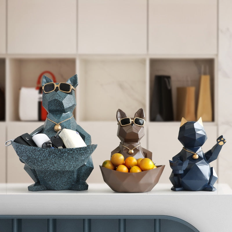 Cat&Dog Figurines Storage Bowl