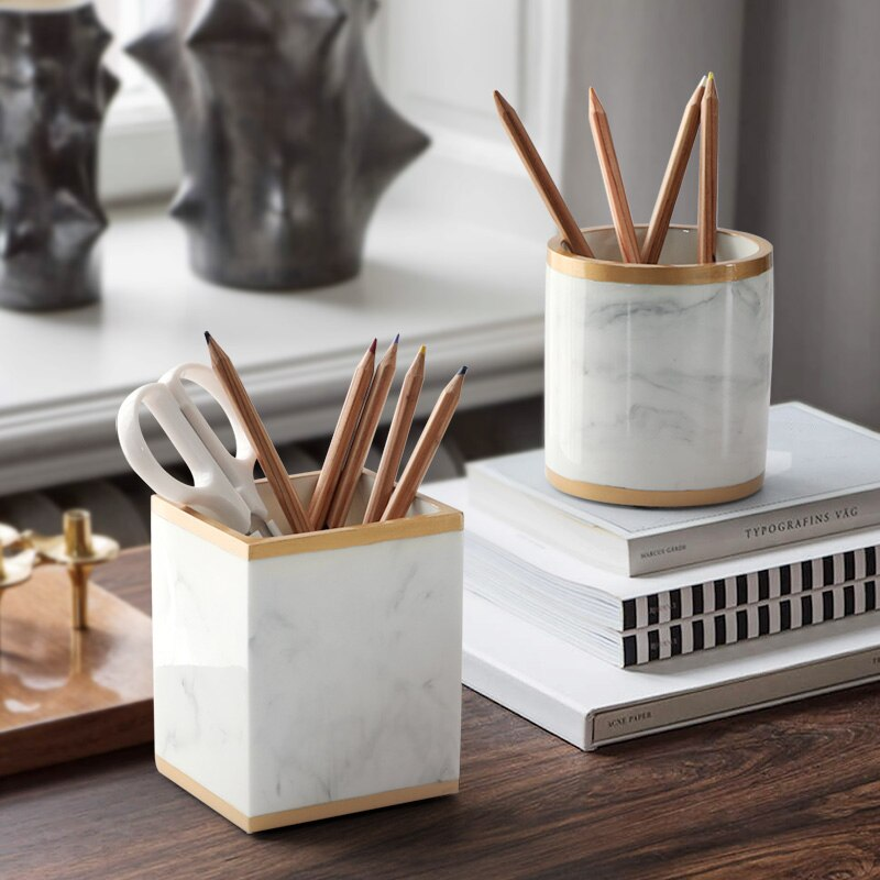 Resin Marble Pen Holder