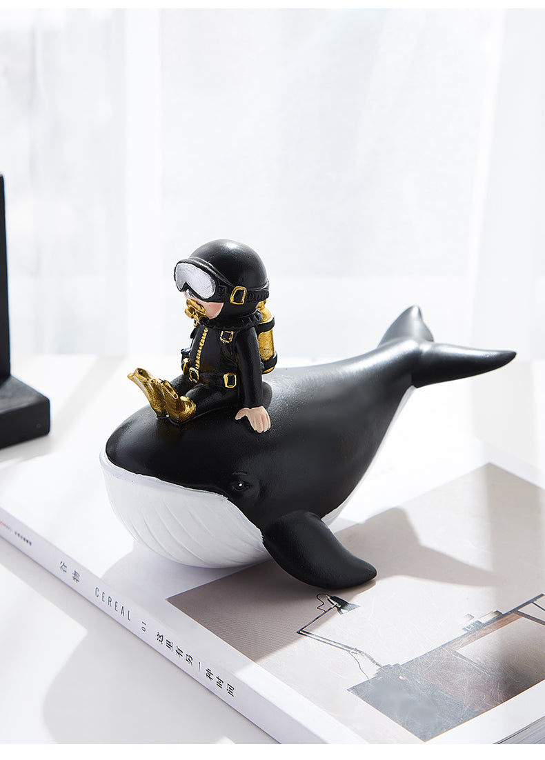 Resin Diver & Cute Dolphin Statue