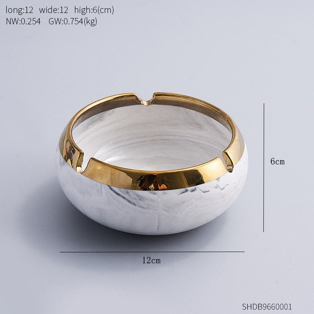 Oval Gold Edge Marble Ashtray