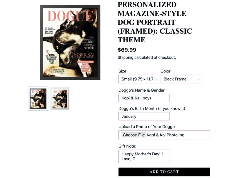 DOGUE By Gina How to Customize Your Order- Photo