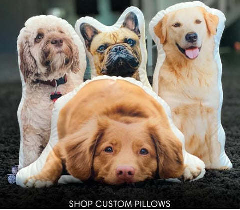all about vibe custom dog shaped pillows