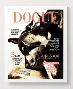Personalized Dog Magazine Cover- Framed: Classic Theme - DOGUE By Gina
