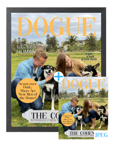 Fido Family Photo Theme DOGUE By Gina Magazine- Style Dog Portrait Bundle: Frame + JPEG - DOGUE By Gina