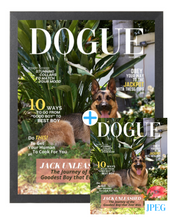 Load image into Gallery viewer, Forever Chasing Squirrels Theme DOGUE By Gina Magazine- Style Dog Portrait Bundle: Frame + JPEG - DOGUE By Gina