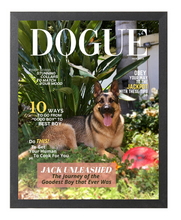 Load image into Gallery viewer, Forever Chasing Squirrels DOGUE By Gina Dog Magazine Portrait Bundle: Frame + JPEG - DOGUE By Gina