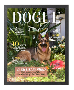 Forever Chasing Squirrels DOGUE By Gina Dog Magazine Portrait Bundle: Frame + JPEG - DOGUE By Gina