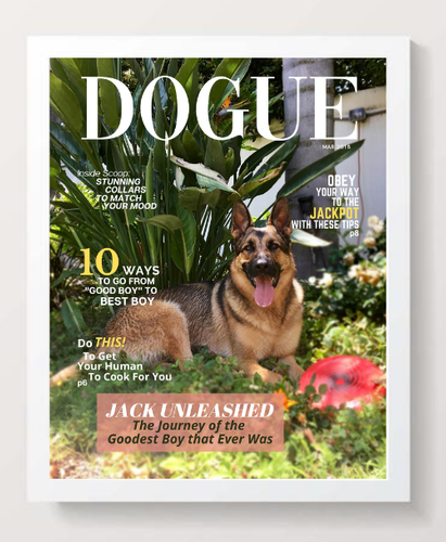 Personalized Dog Magazine Cover- Framed: Forever Chasing Squirrels Theme - DOGUE By Gina