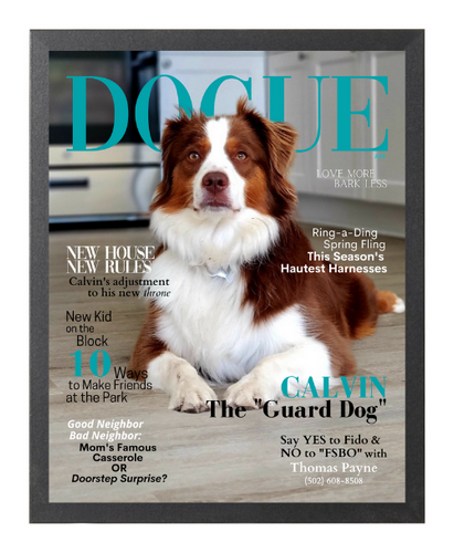 Personalized Magazine-Style Dog Portrait (Framed): New Home Theme - DOGUE By Gina