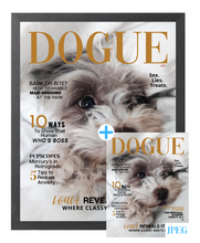 Load image into Gallery viewer, Sassy Theme DOGUE By Gina Magazine- Style Dog Portrait Bundle: Frame + JPEG - DOGUE By Gina