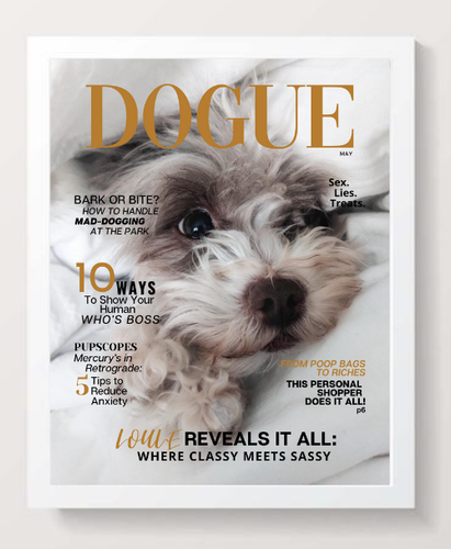 Personalized Dog Magazine Cover- Framed: Sassy Theme - DOGUE By Gina