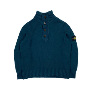 Stone Island Teal Blue Knitted Pullover Jumper
