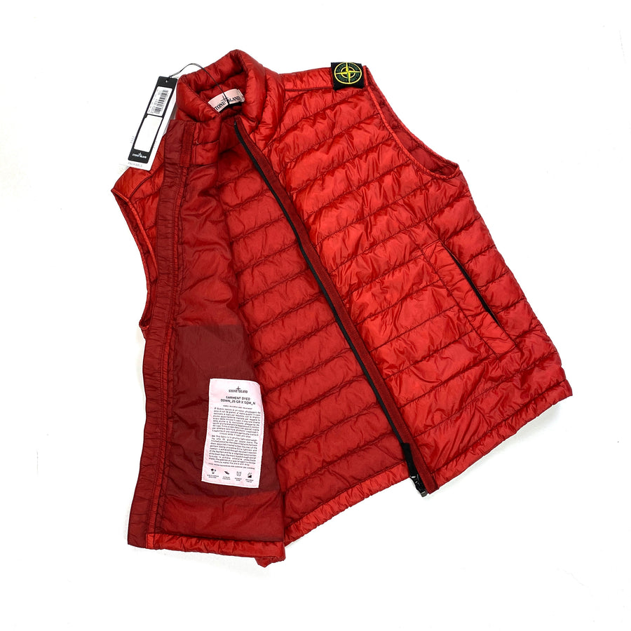 Stone Island Red Garment Dyed Down Gilet