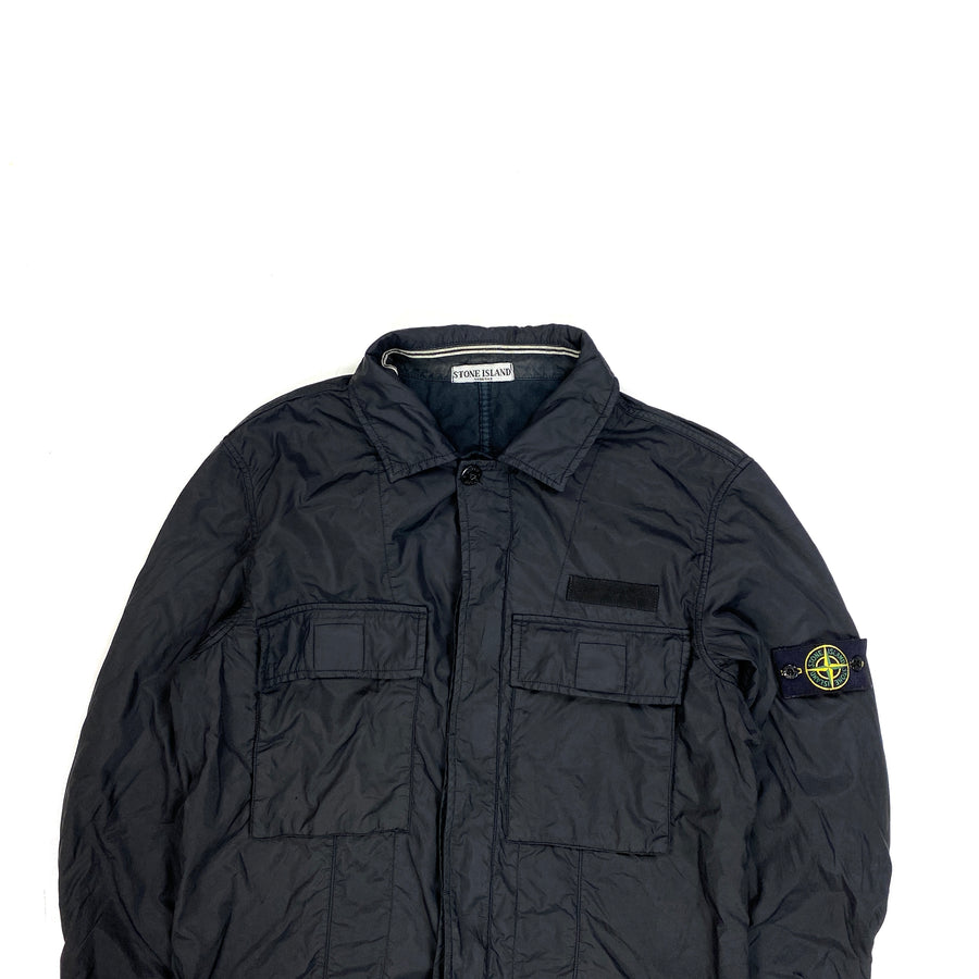 Stone Island Black Nylon Shell Cotton Lined Overshirt