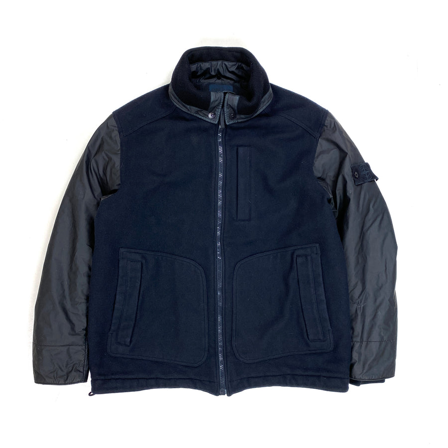 Stone Island Navy Panno Tinto Mussola Gommata Ghost Piece Jacket