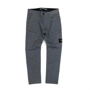 Stone Island Grey Thick Cotton Skinny Fit Cargo Trousers